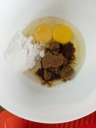 Eggs, caster sugar and brown sugar