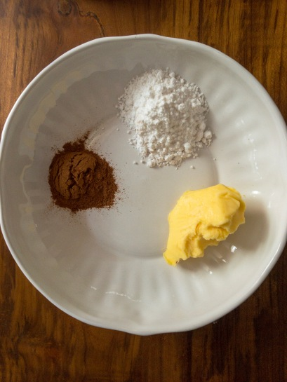 cinnamon powder, confectioners sugar and softened butter