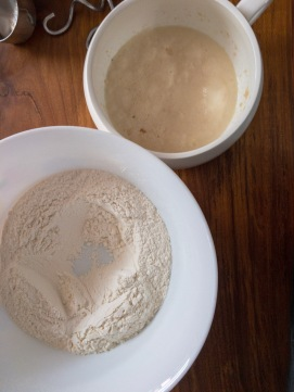 Added the yeast mixture to the flour mixture