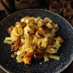 Crispy Herb Grilled Prawns with Garlic Pasta